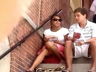 Upskirt of a student girl on stairs
