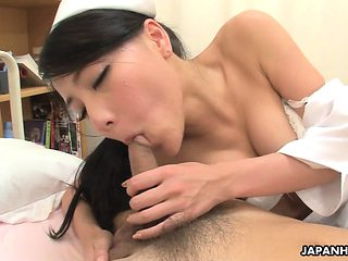 Asian nurse getting banged from the back doggy style so hard