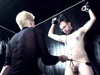 Blonde cutie punishes a horny guy