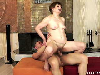 Redhead gets her many times used mouth stuffed again by horny man