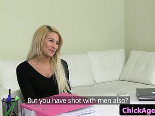 Czech amateur has ffm fun during sex audition