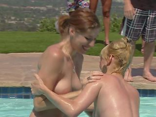 sexy couples play chicken in the water