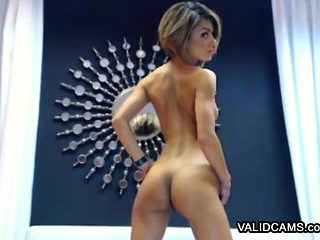 Sexy slim immature striptease via webcam