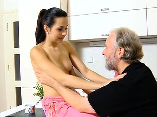 Young sweetie feels well on hard jock of an old cat