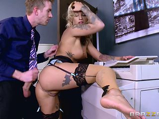 Tattooed goddess allows the boss to push his cock inside her pussy