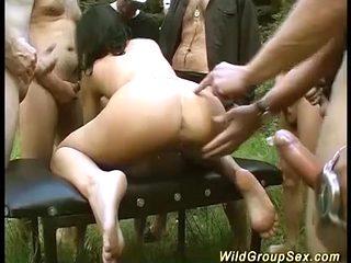wild german outdoor fuck party