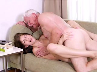 Grandpa goes wild on her shaved twat
