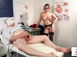 Busty Nurse Instructing Her Patient