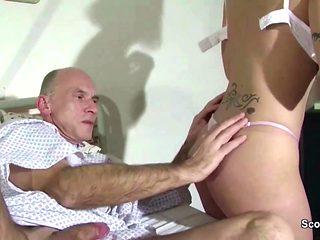 German Teen Nurse Help Old Men to Cum with a Fuck