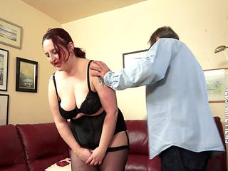 Submissive BBW Interviewed And Paddled