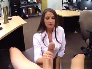Brunette Office Worker Sucking Dick In Back Of Pawn Shop