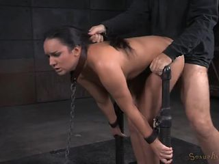 Collared and chained girl fucked like a sex slave