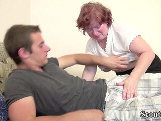 Hairy German Granny Teach Virgin Young Boy to Fuck