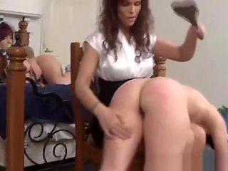 Babysitter spanks the babies
