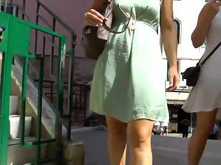See thru dress reveals granny panties