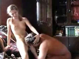 Sexy daughter gives him the fuck of his life !