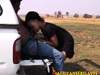 Curly haired African slut getting fucked hard by a massive
