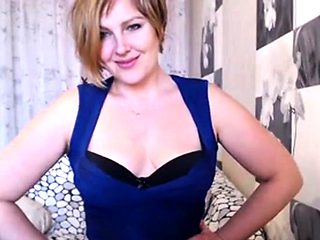 Sexy Mature Blond Milf Teases on Webcam wearing Blue