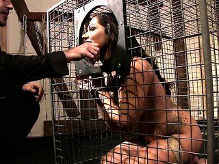 Caged slave tastes maledoms warm jizz