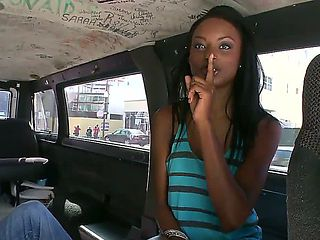 Long haired arousing ebony babe with steaming hot tight body enters the bang bus and has lot of f...