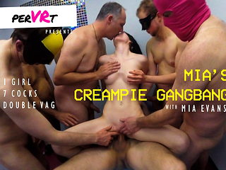 Mia's creampie gangbang - 1 girl double penetrated by 7 guys