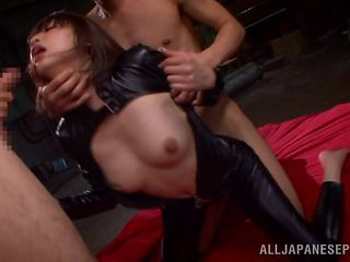 latex slut takes it hard from behind