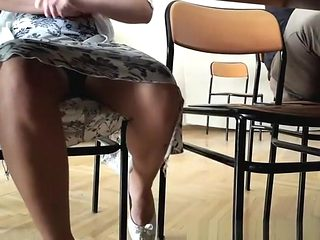 Woman upskirted under the table