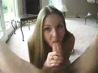Real blonde amateur giving a POV blowjob