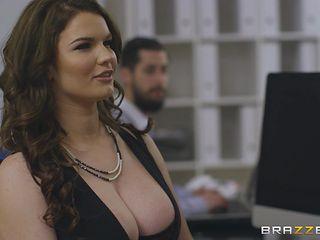 big titted brunette seduced me at work
