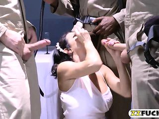 Massive boobs MILF in wedding dress Dped by huge cocks