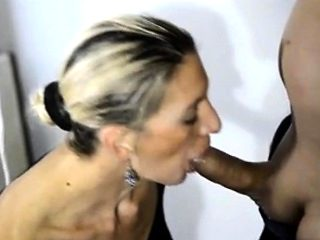 French blonde mature milf fucked blowjob facial