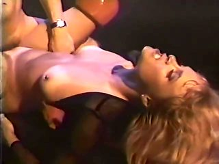 Classic gorgeous blonde in red thigh high boots gets a good fuck
