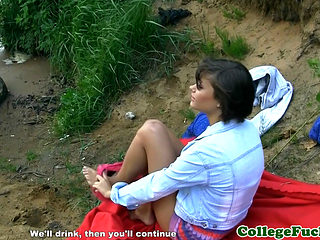 Shorthaired College Beauty Outdoor Fucked
