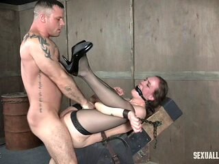 Nasty BDSM-loving babe has her slippery hole demolished