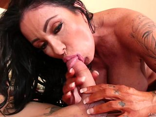 Brunette latin with juicy tits can't live a day without getting her mouth fucked by hot guy