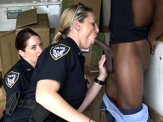 Horny milf cops take suspect inside a truck for steamy sex