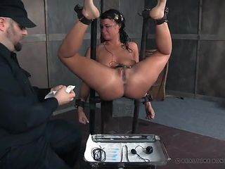 Master and his tools abuse the bound girl