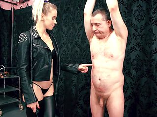 Slave gets whipped by very hot sadistic blonde dominatrix