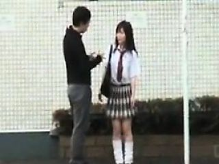 Japanese schoolgirl gets touched and toyed by two horny dud