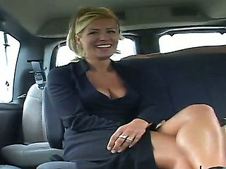 Super sexy office lady in hot glasses and decollete Renee enjoys our bus today