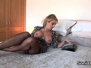 Unfaithful british milf lady sonia flashes her huge melons