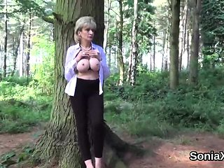 Unfaithful english milf lady sonia exposes her gigantic boob
