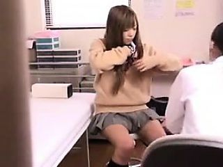 Schoolgirl goes into the nurse's office for a breast exam b