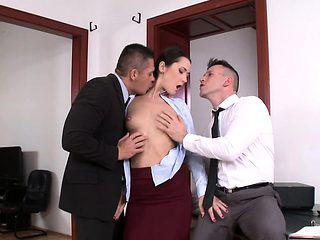 Gaping businesswoman DP pounded at office