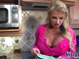 Stacked MILF gets screwed in the kitchen