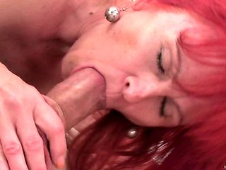 Redhead gets impaled on dude's pole