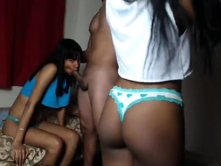 FFM Black Ebony Threesome Oral