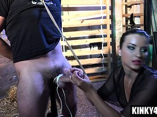 Hot submissive domination and cumshot