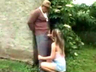 Grandpa takes care of her cute little bush !