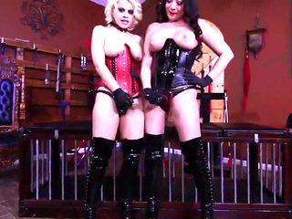 Cruel mistresses abuse sub